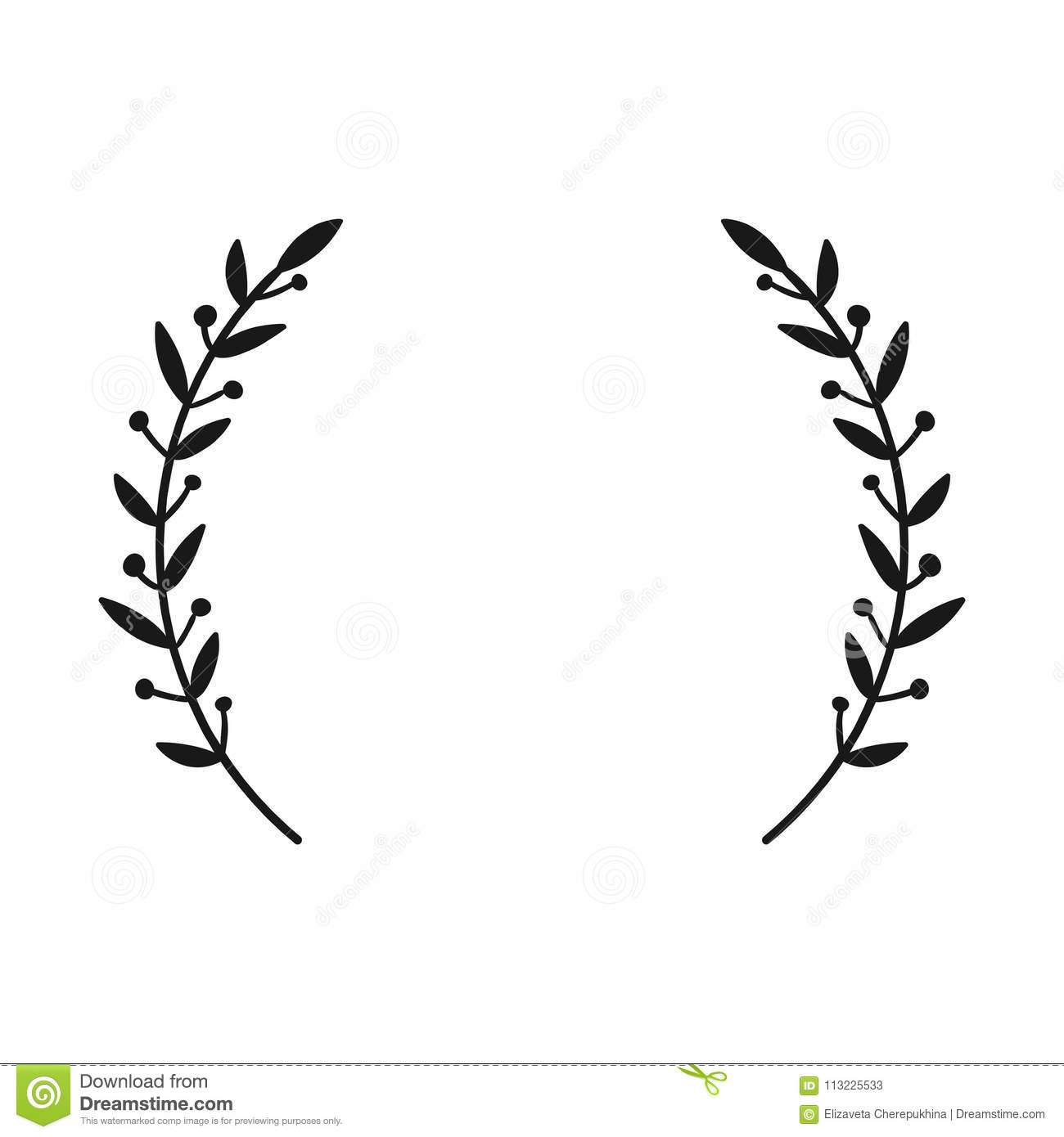 Laurel Wreath Hand Drawn Vector Round Frame For Invitations