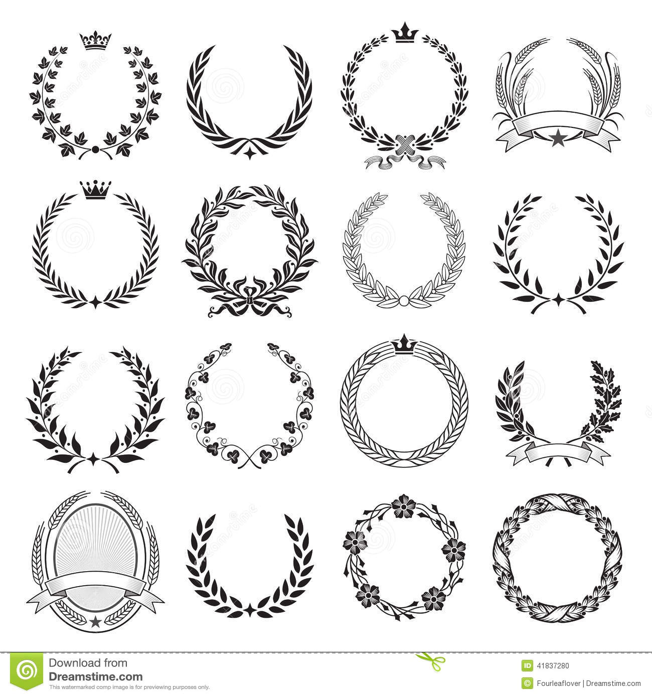 laurel leaf crown template - laurel wreath round ceremonial frames stock vector