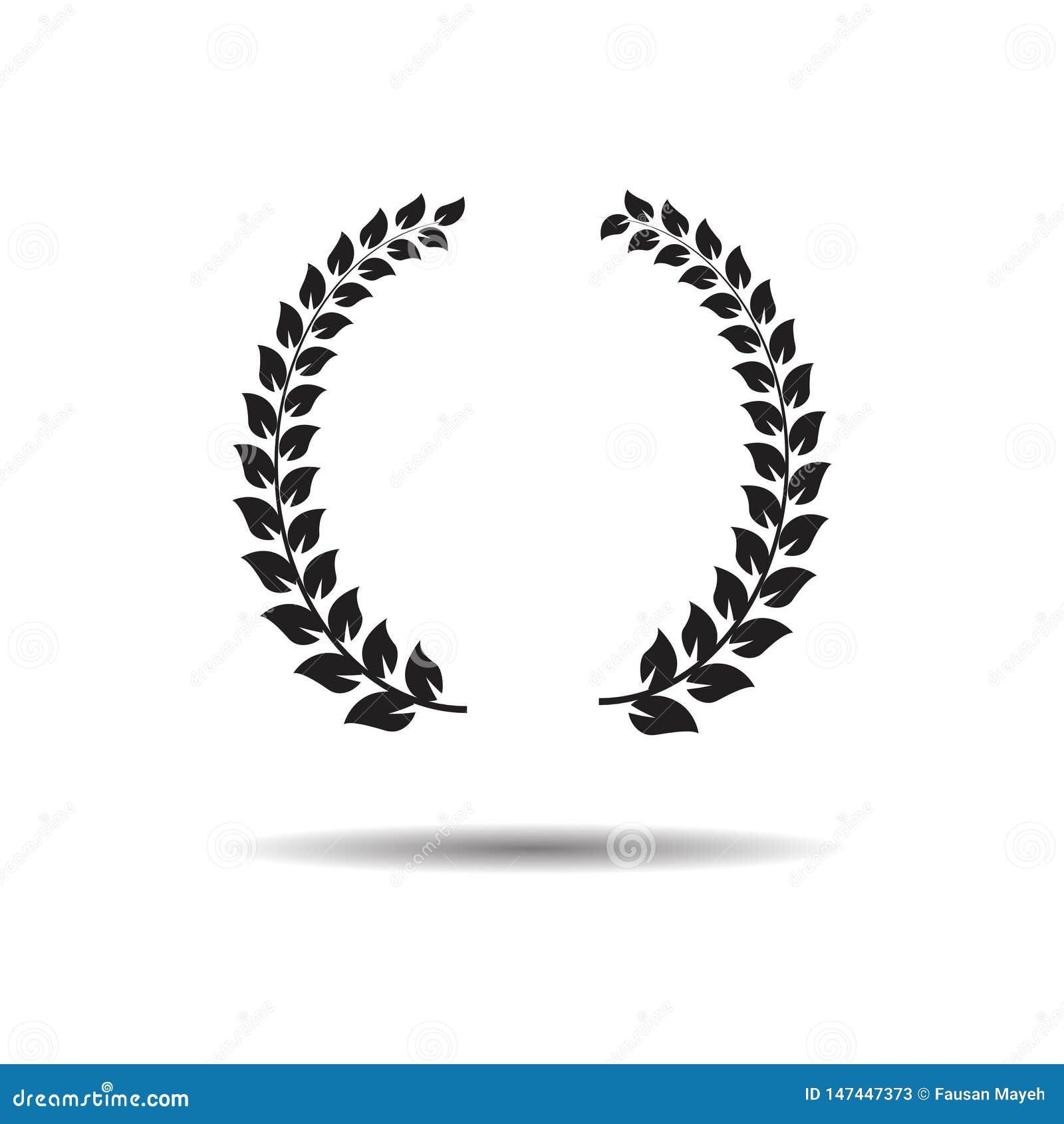 Laurel Wreaths Icona o segno piana di web di vettore su fondo bianco con ombra