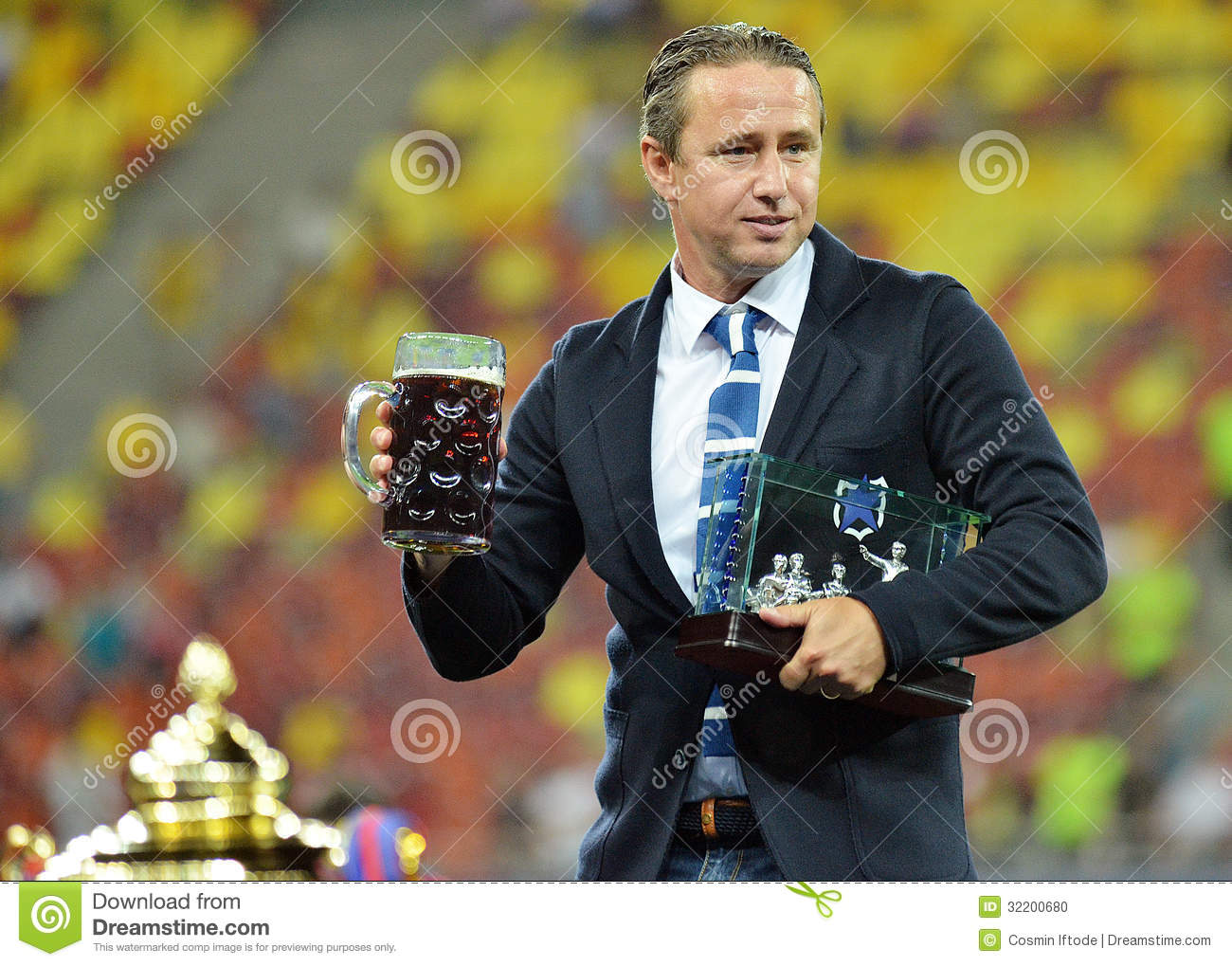 Laurentiu Reghecampf With Fair-Play Trophy And Beer ...