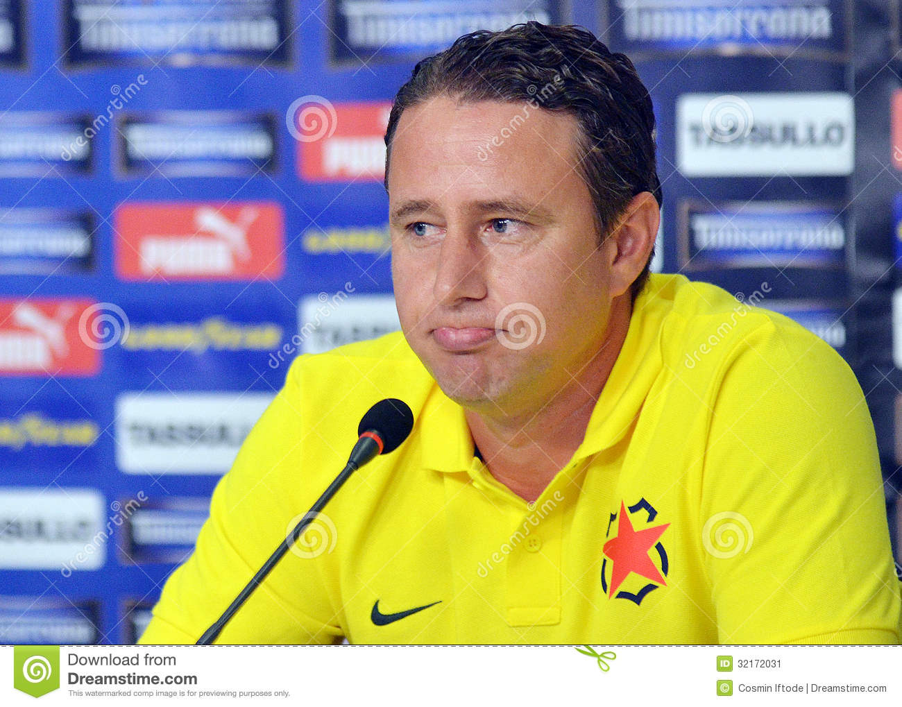 Laurentiu Reghecampf Of Steaua Bucharest Press Conference ...