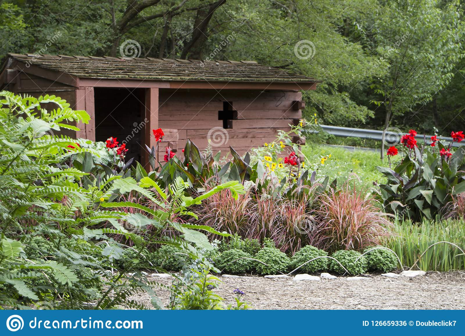 Lauritzen Gardens, Omaha, Nebraska, Rustic Shed With Flowers And Shrubs