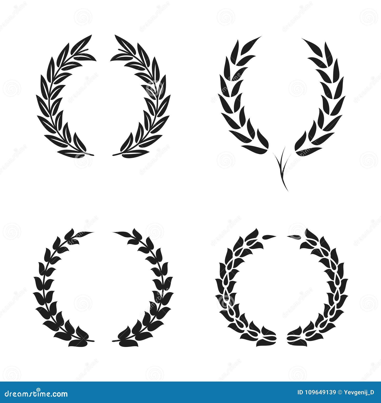 Laurowego wianku blaszkowi symbole ustawiający Czarne kółkowe sylwetki laurowy wianek z liśćmi dla nagrody, osiągnięcie