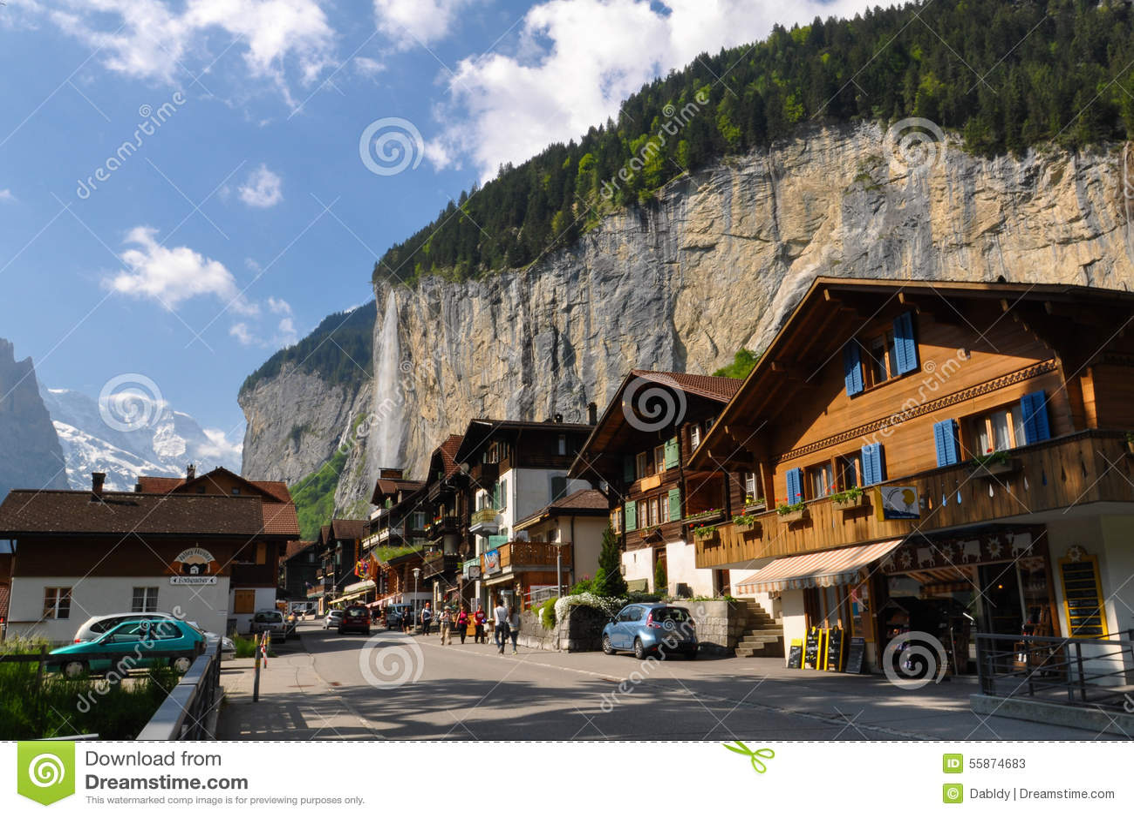 Lauterbrunnen Town In The Beautiful Valley Of Swiss Alps