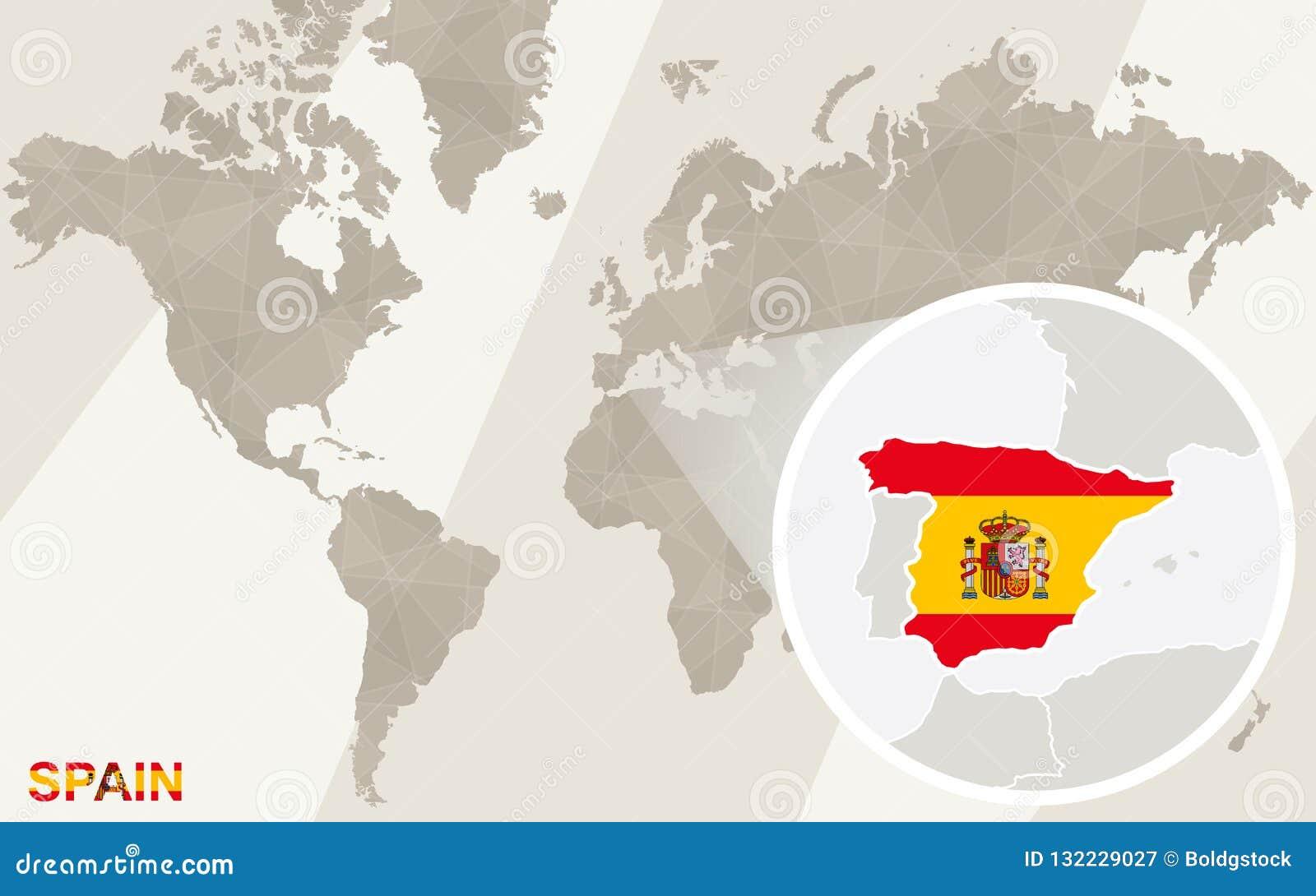 Spanien Katalonien Karte.Lautes Summen Auf Spanien Karte Und Flagge Karte Der Welt Vektor