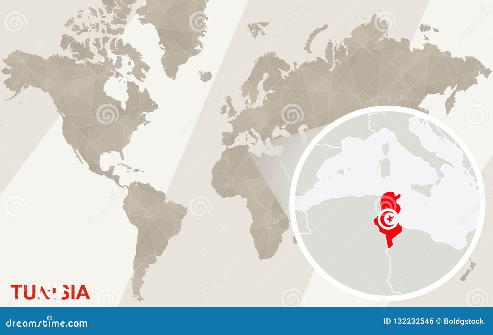 Tunesien Karte Welt.Lautes Summen Auf Tunesien Karte Und Flagge Karte Der Welt