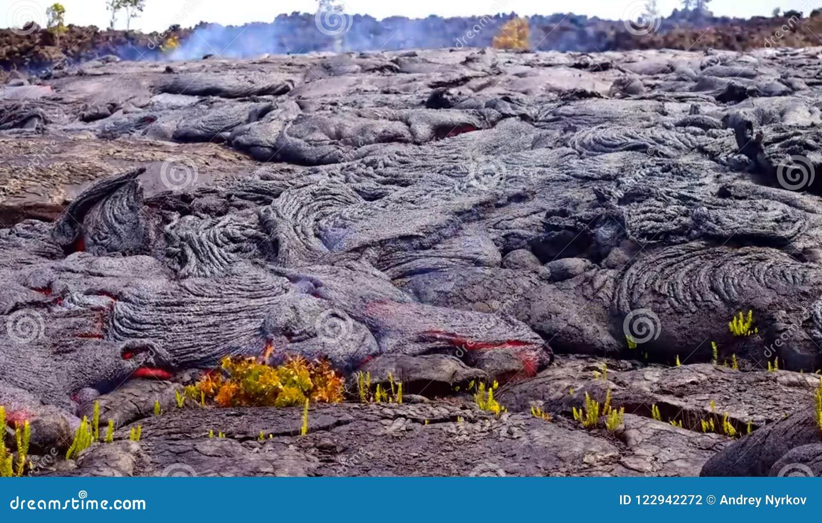 Lava atual na superfície da terra Lava líquida