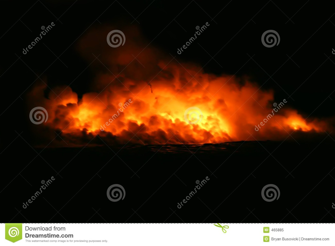 Download Lava Flow Entering Ocean stock image. Image of flow, attraction - 465885