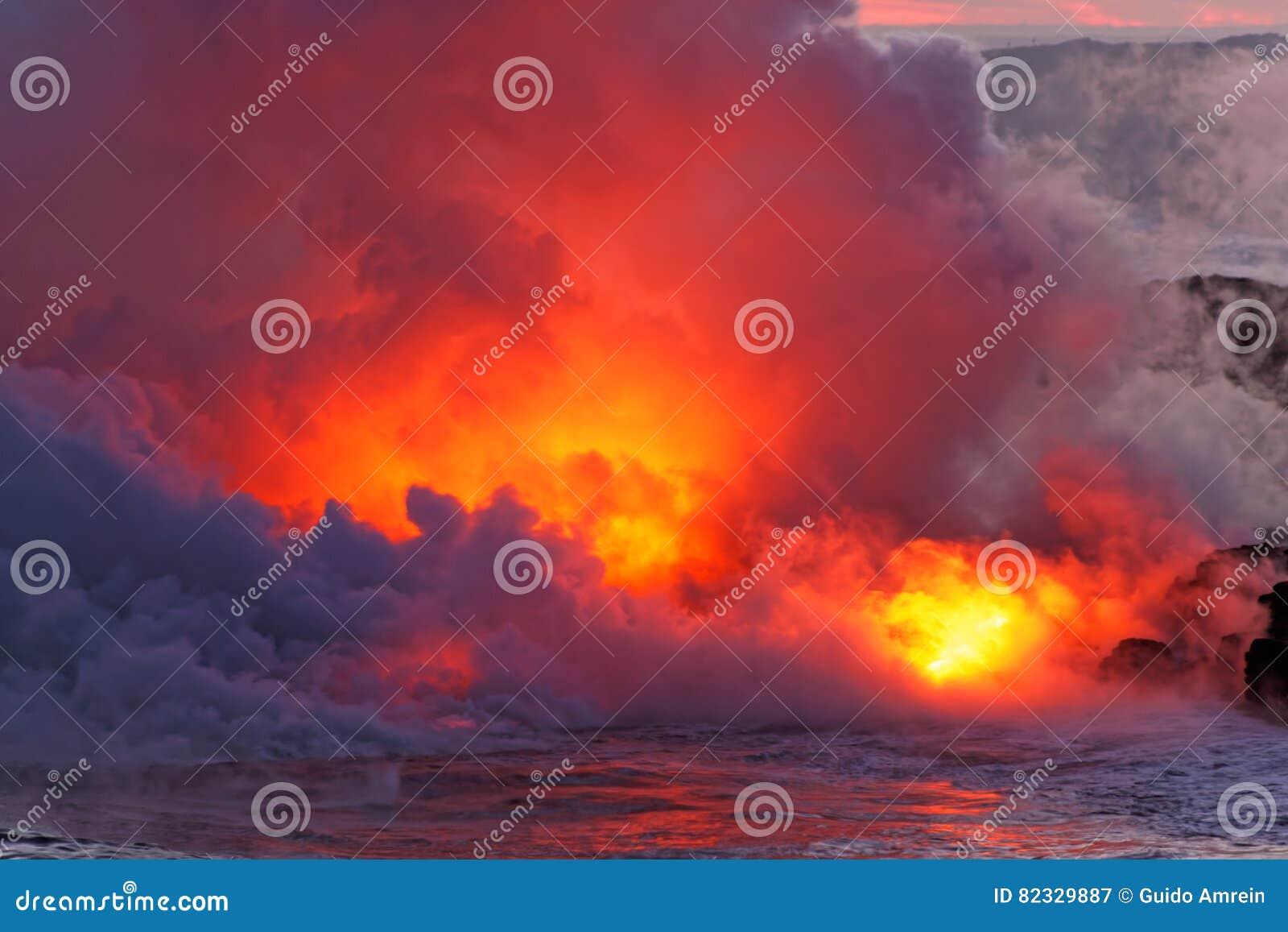 Lava flowing into ocean - Kilauea Volcano, Hawaii