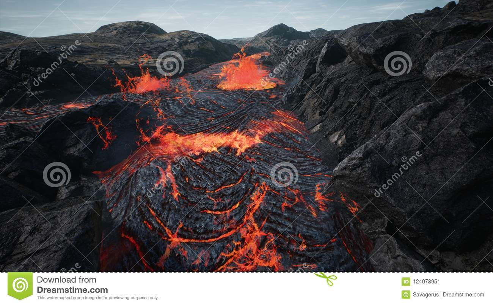 Lava que flui da erupção da lava do vulcão rendição 3d