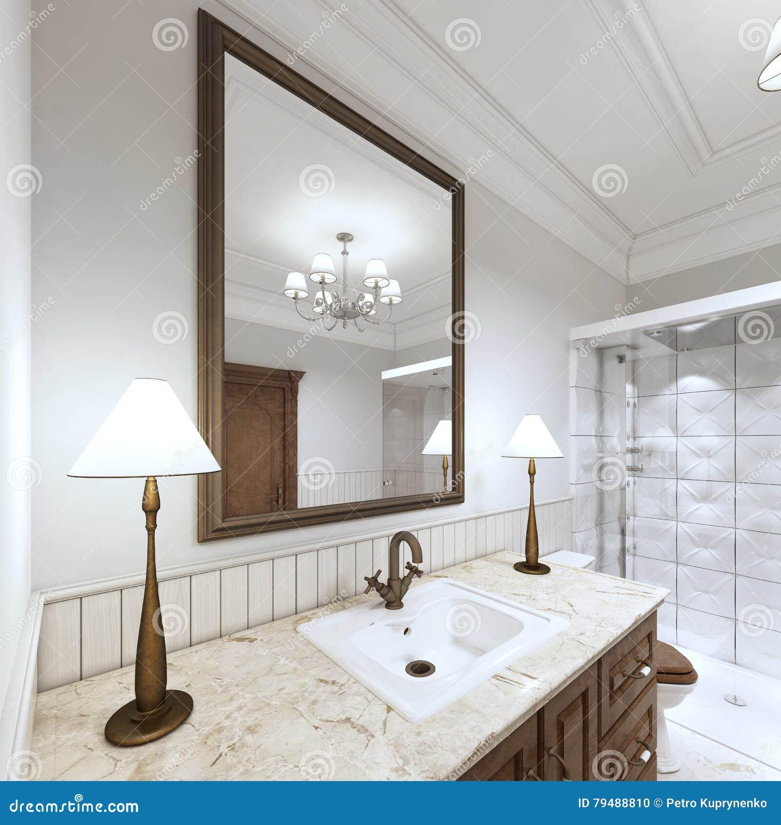 Lavabo del baño del fregadero de los muebles con una encimera de mármol