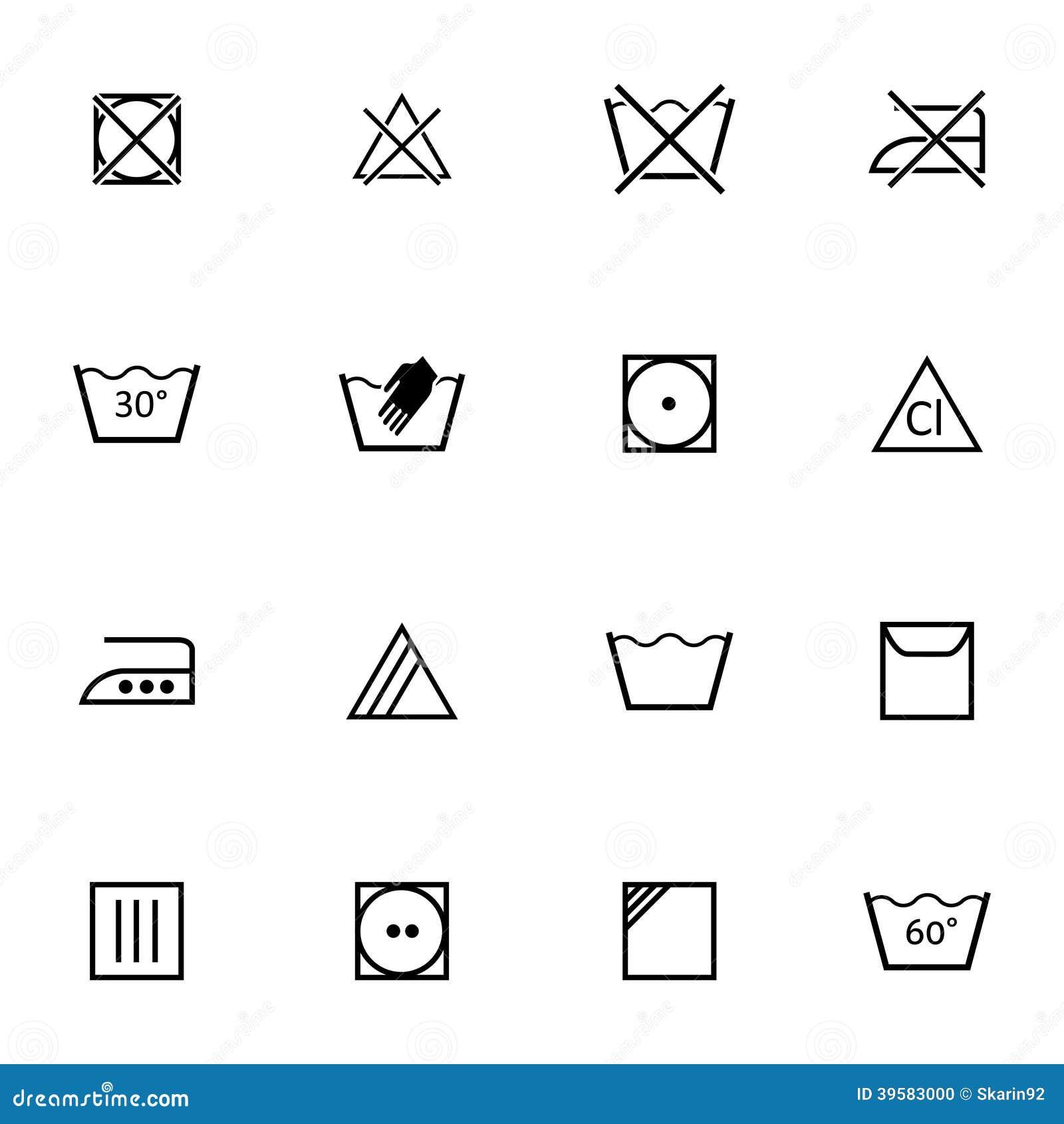 Lavado del negro del vector iconos fijados ilustraci n del for Imagenes de lavaderos de ropa