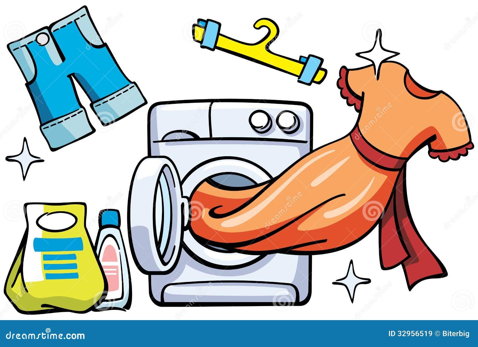 Lavadora y ropa limpia