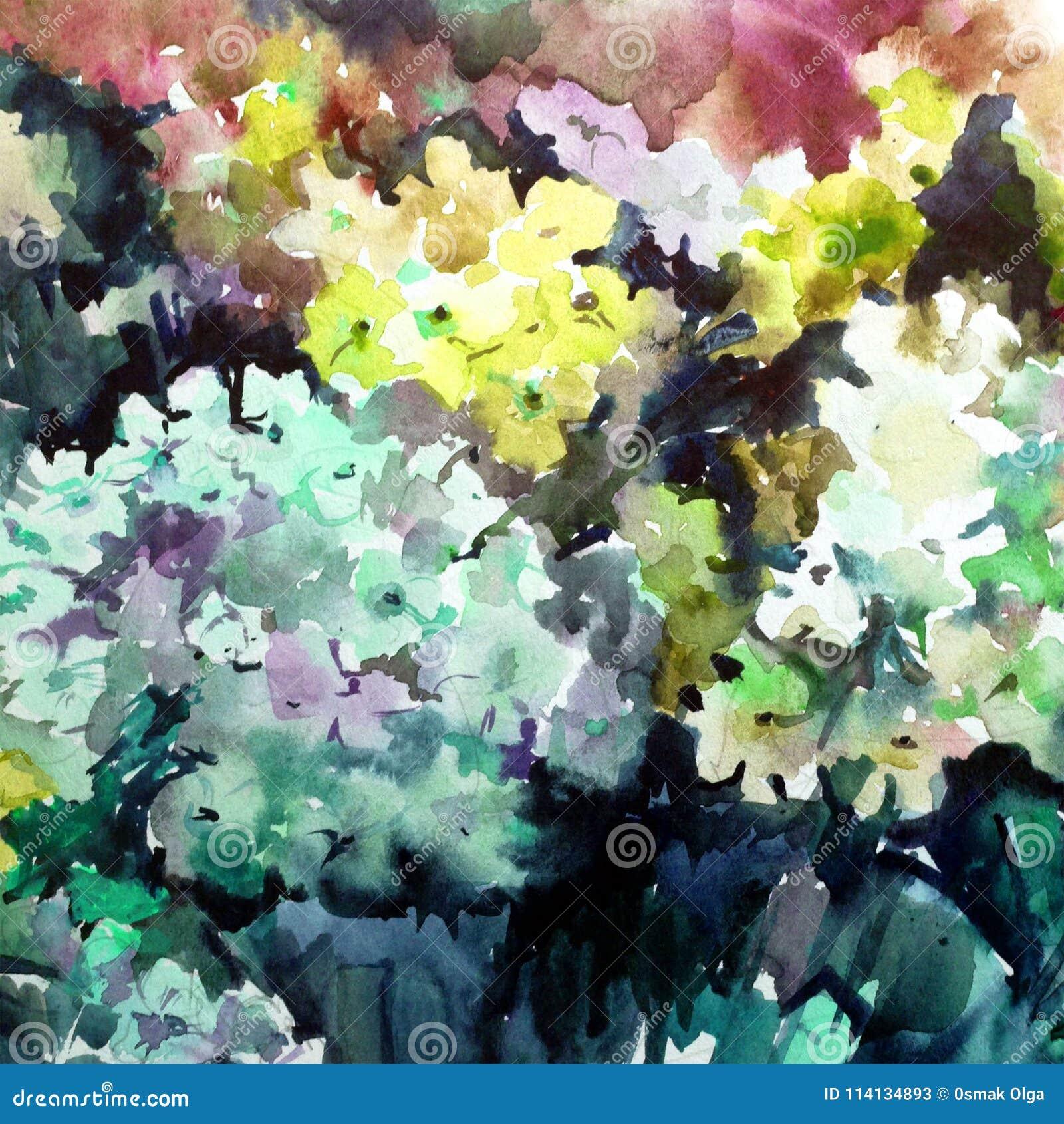 Lavage humide texturisé coloré extérieur romantique lilas de belle fleur florale d abrégé sur fond d art d aquarelle brouillé