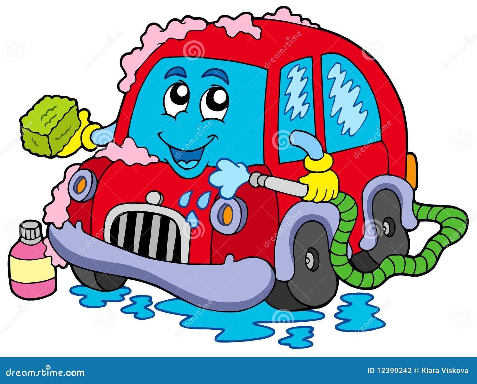 Lavagem De Carro Dos Desenhos Animados Ilustracao Do Vetor