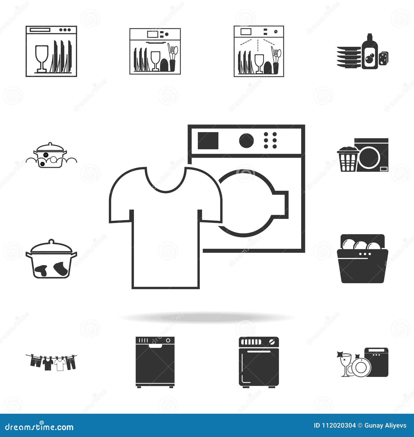 Lavaggio A Secco Dell Icona Di Tela Bianca Insieme Dettagliato Delle