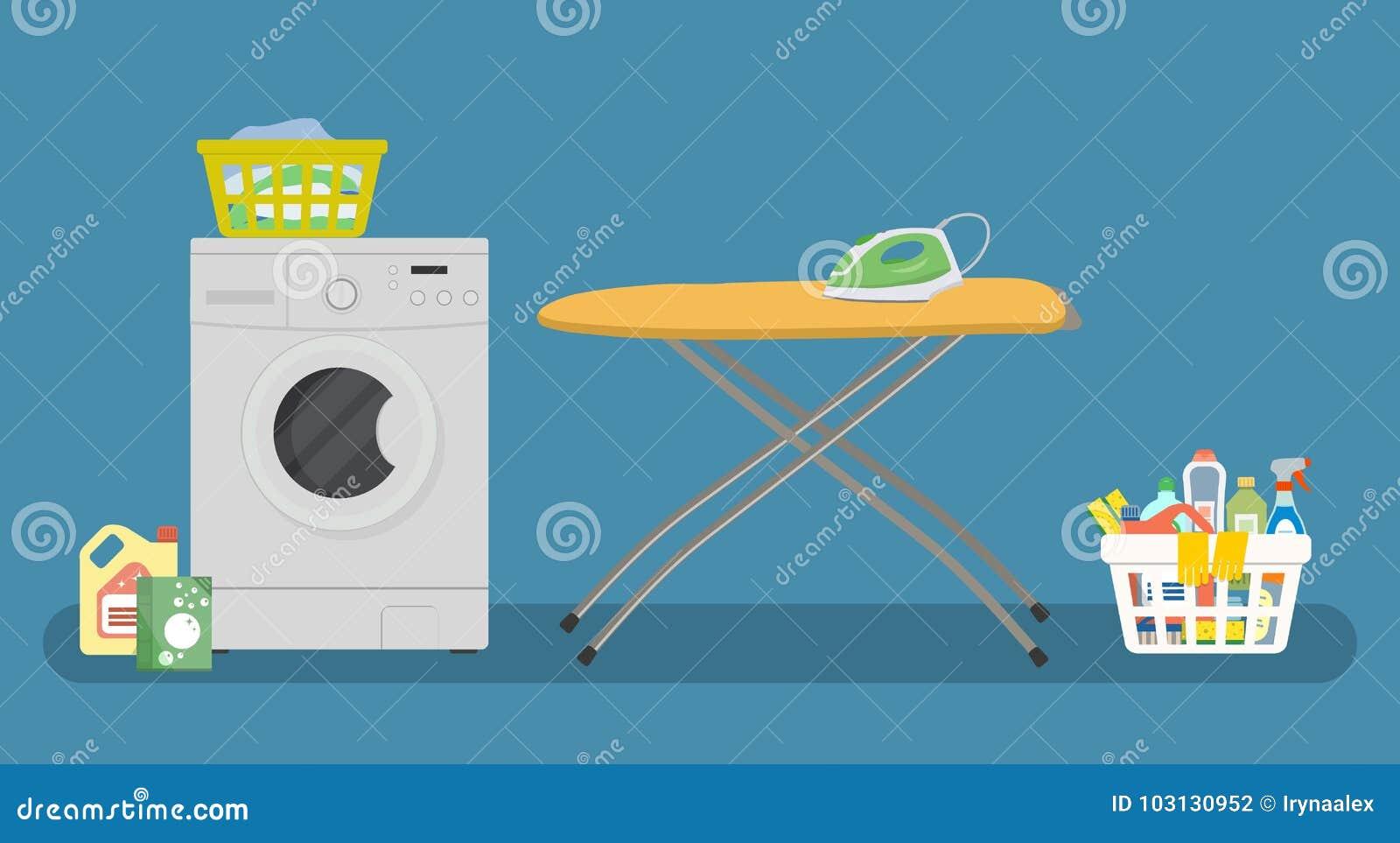 Lavandaria com uma máquina de lavar e uma tábua de passar a ferro amarela