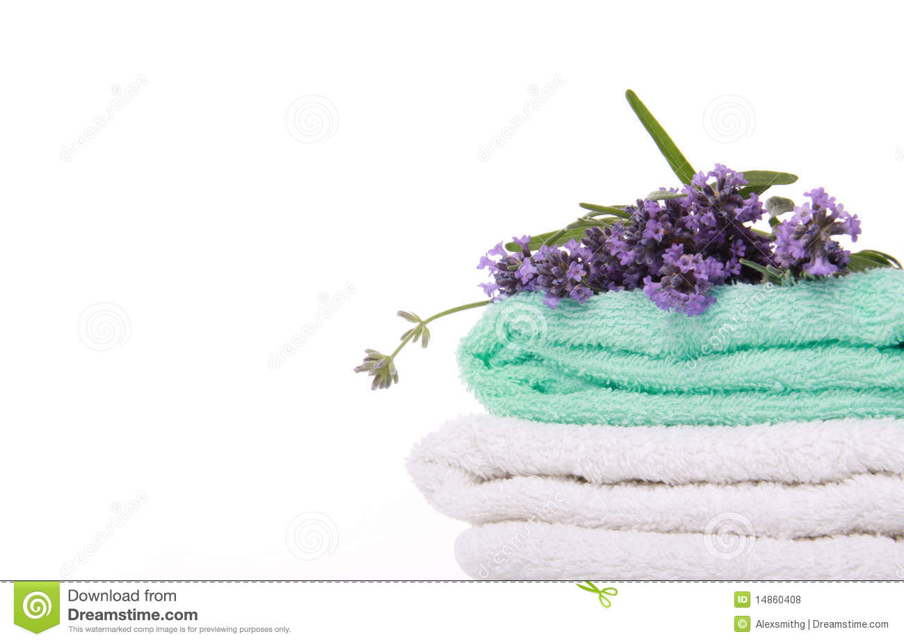 Lavander branch on the towel