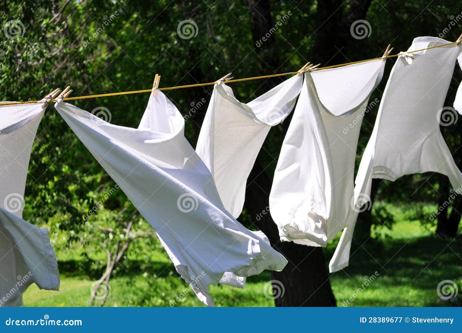 Lavanderia su un clothesline