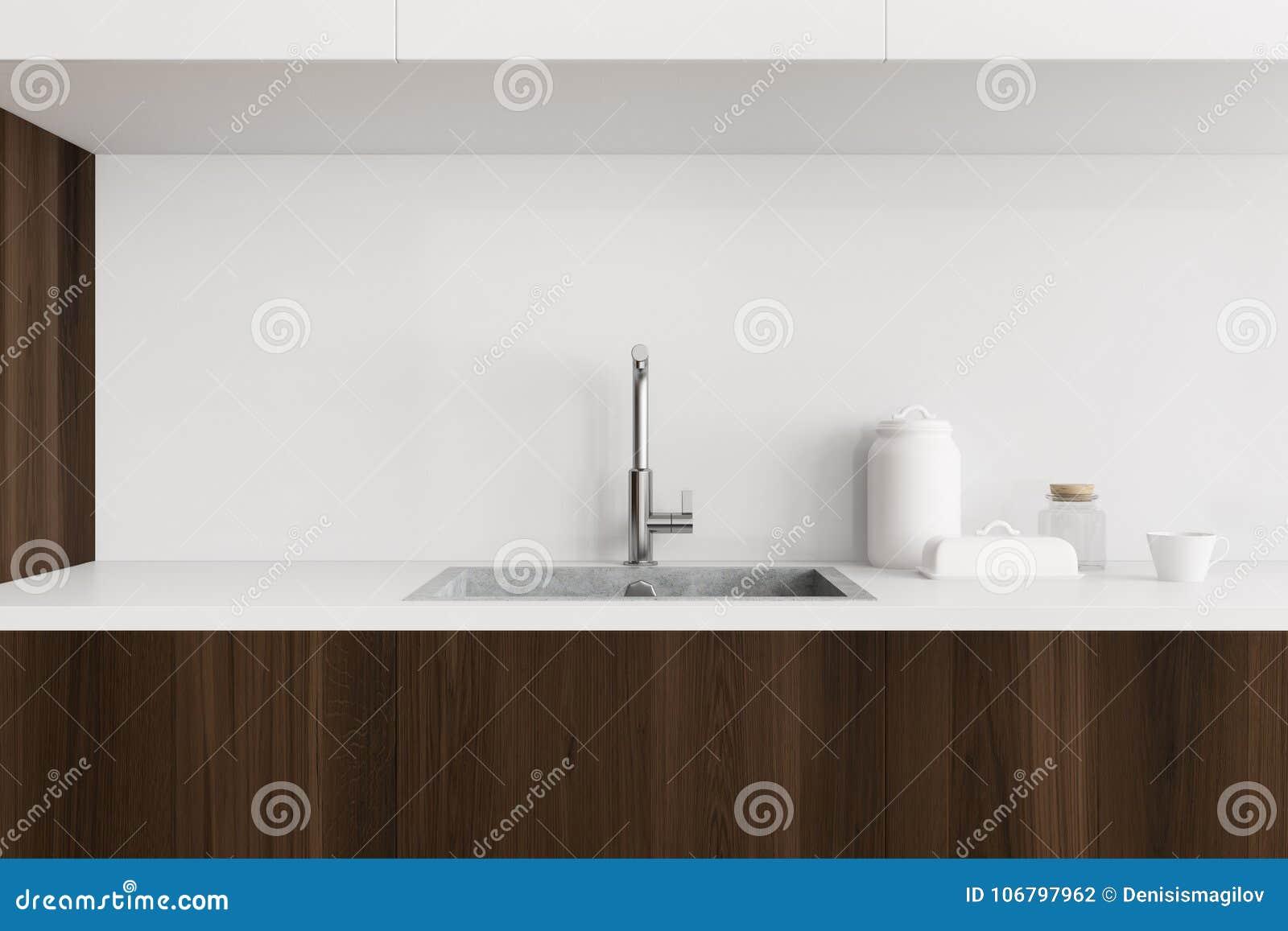 Lavandino di cucina bianco e di legno illustrazione di stock