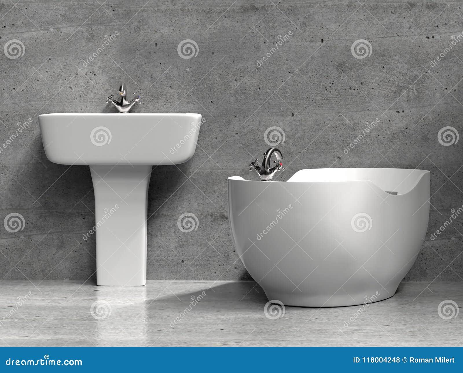 Vasca Da Bagno E Lavandino : Lavandino e vasca da bagno bianchi alla moda illustrazione di stock