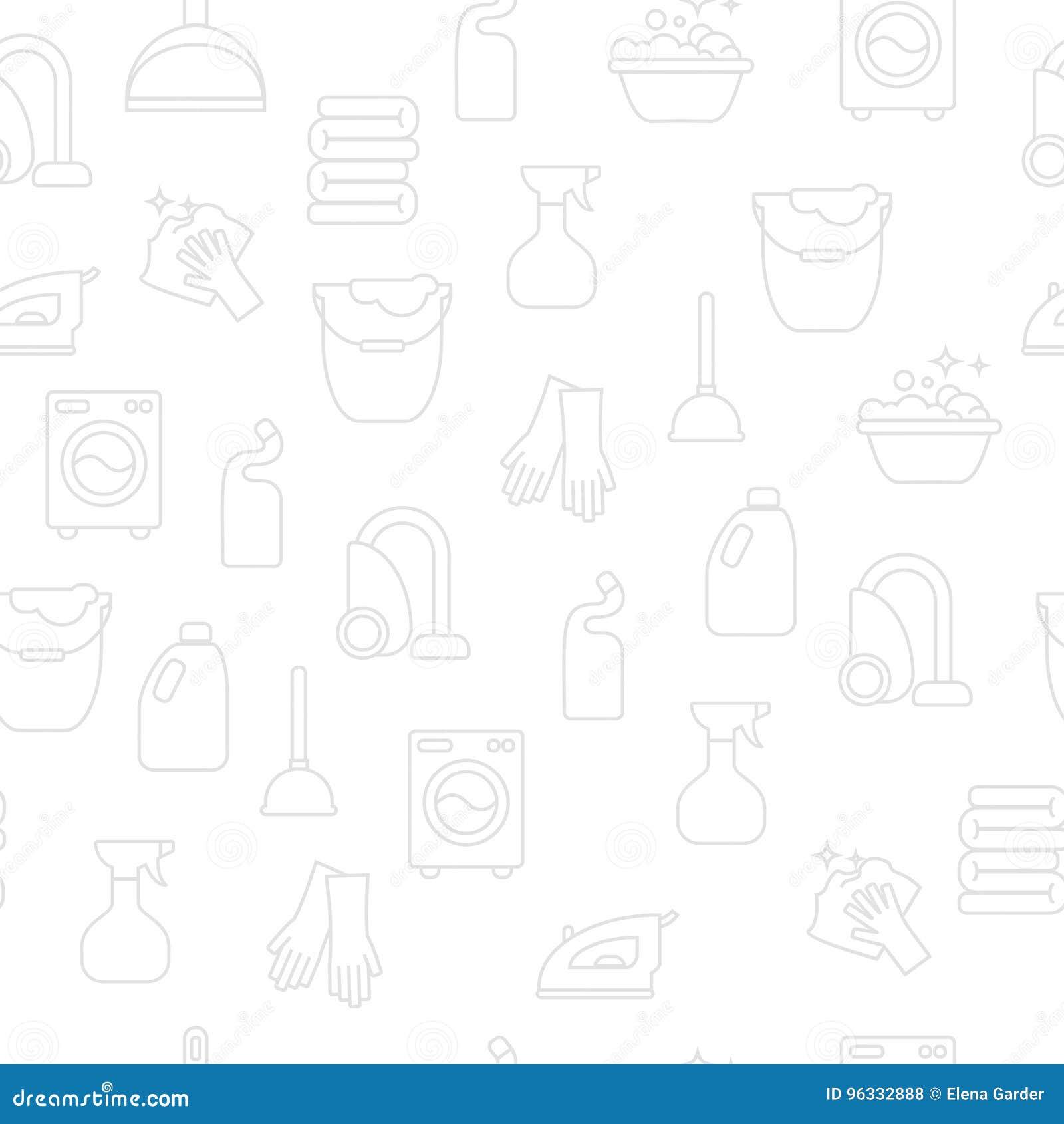Lavar, passando, limpa a linha ícones da lavanderia A máquina de lavar, ferro, handwash e o outro ícone clining Ordem no sinal li