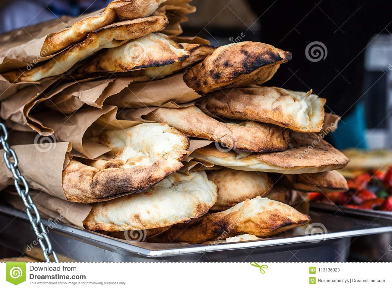 Lavash, Bakery Products fresh pastry sells pita market wheat tortillas close-up Caucasian kitchen Lavash Pita or Arabic bread trad