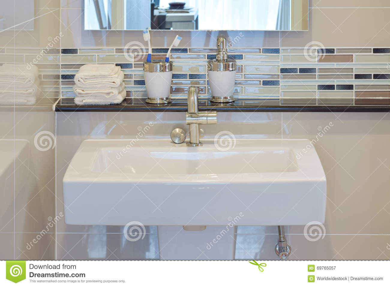 Lavatory And Accessories With Mosaic Wall Stock Image - Image of ...