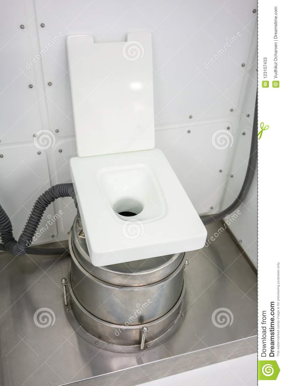 Lavatory Room Inside The Space Station. Empty Toilet With A Toil ...