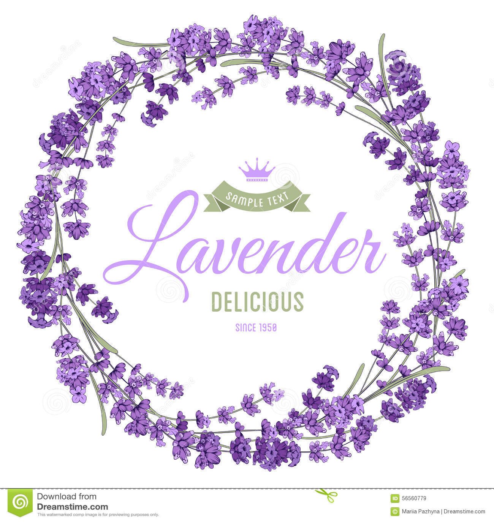 Download Lavender στεφάνι διανυσματική απεικόνιση. εικονογραφία από κήπος - 56560779
