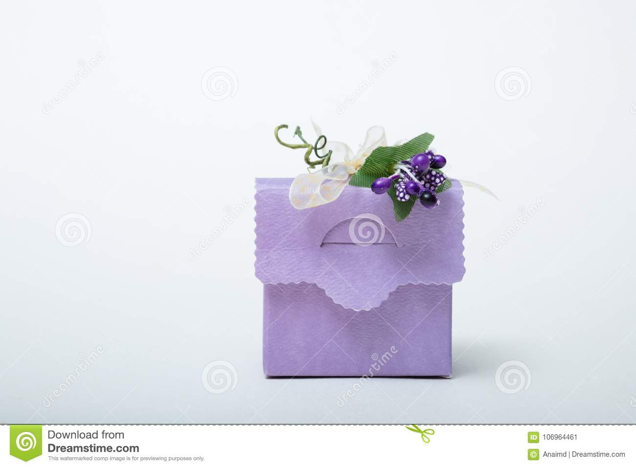Lavender color wedding gift box with ribbon and flowers white ba