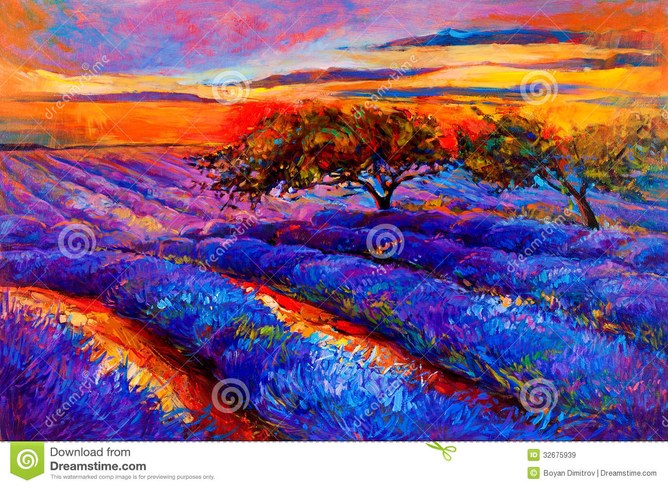 Oil Painting Of Tree In A Field Of Lavender