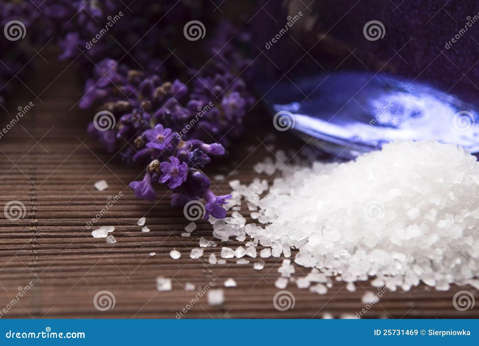 Lavender flowers, bath salt and essential oil