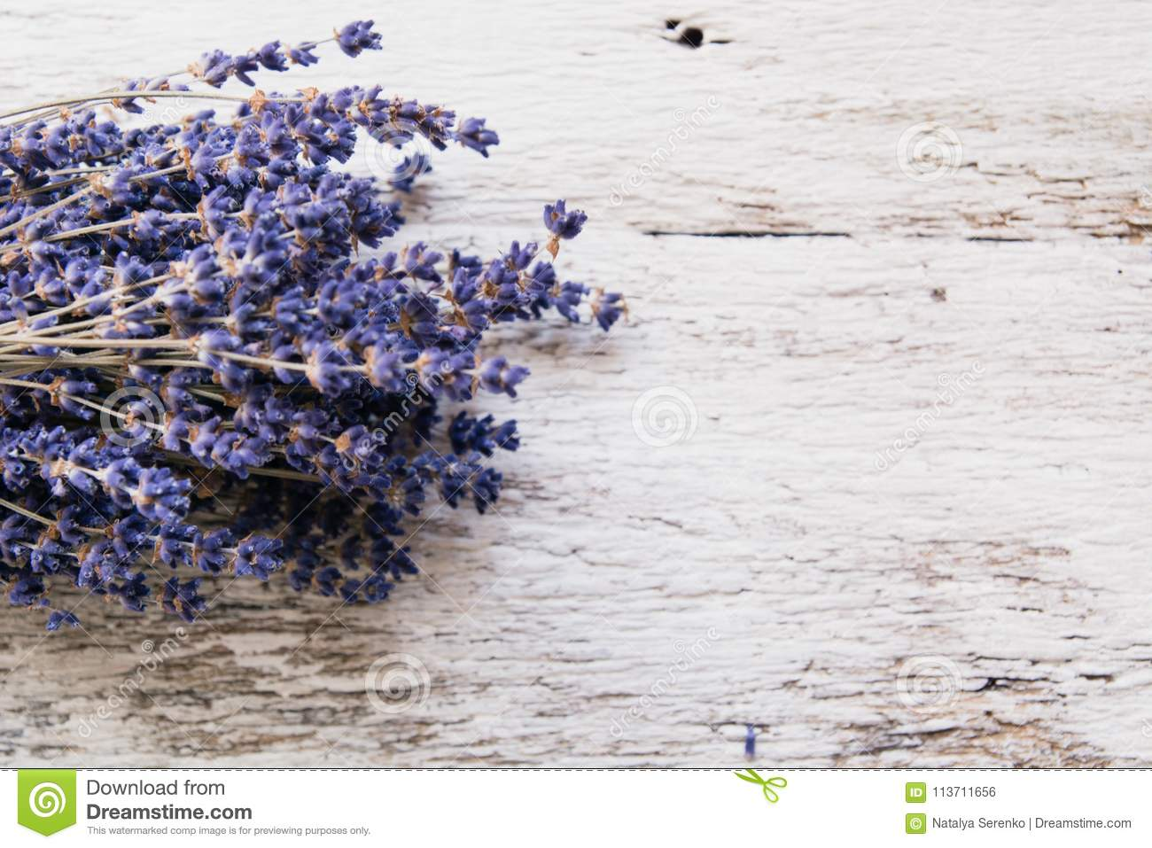Lavender flowers, bouquet on rustic background, overhead