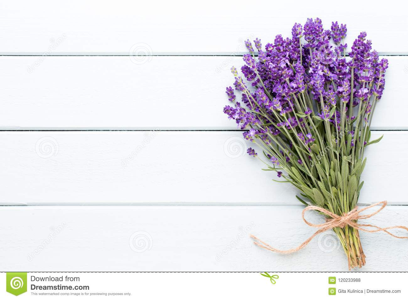 Lavender Flowers Bouquet On Rustic Background Overhead Stock Photo Image Of Natural Herbal 120233988