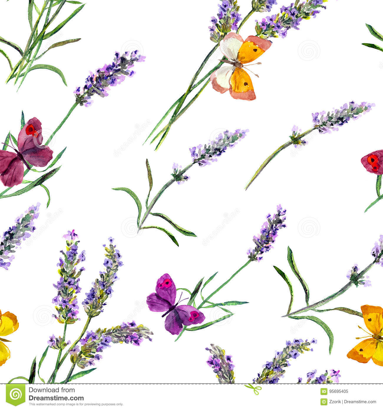 Lavender Flowers And Butterflies Seamless Wallpaper Watercolor