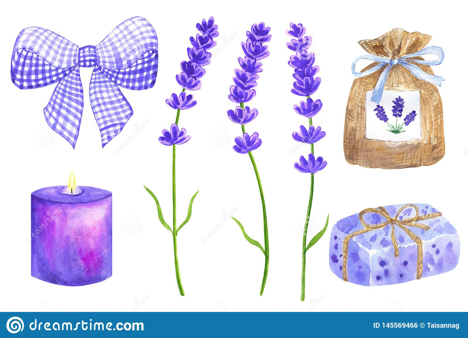 Lavender flowers. Elements for provence design. Violet bow, sachet, wrapped soap, burning candle. Hand drawn watercolor