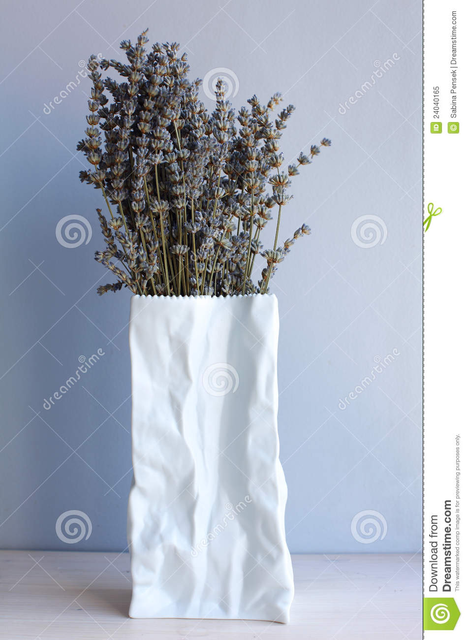 Lavender Flowers In Paper Bag Vase Royalty Free Stock