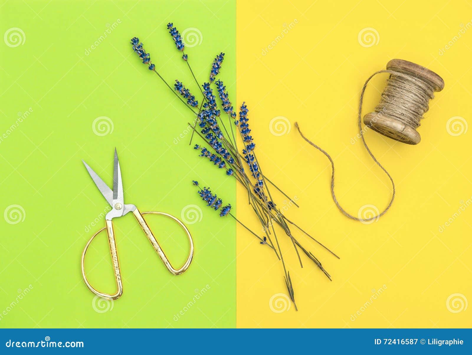 Lavender Flowers And Vintage Scissors Minimal Flat Lay ...