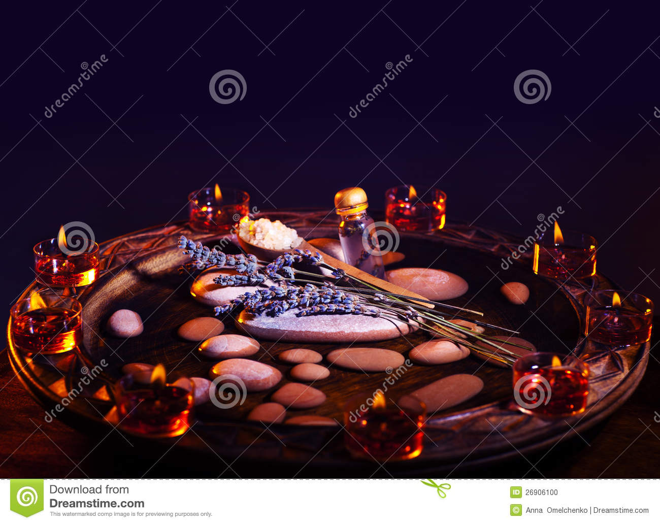 Lavender Herbal Spa Room With Zen Atmosphere Stock Photo