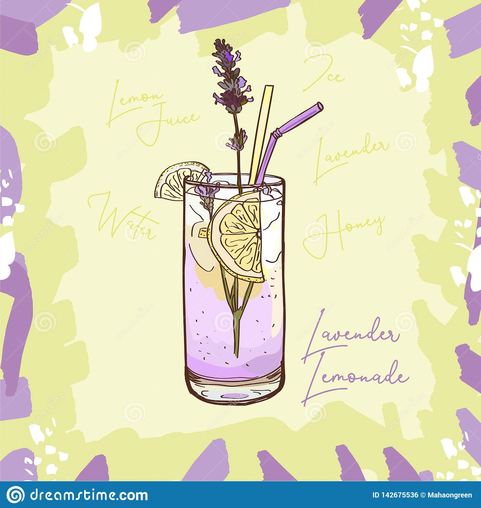 Lavender Lemonade Homemade Classic In Glass Cup With