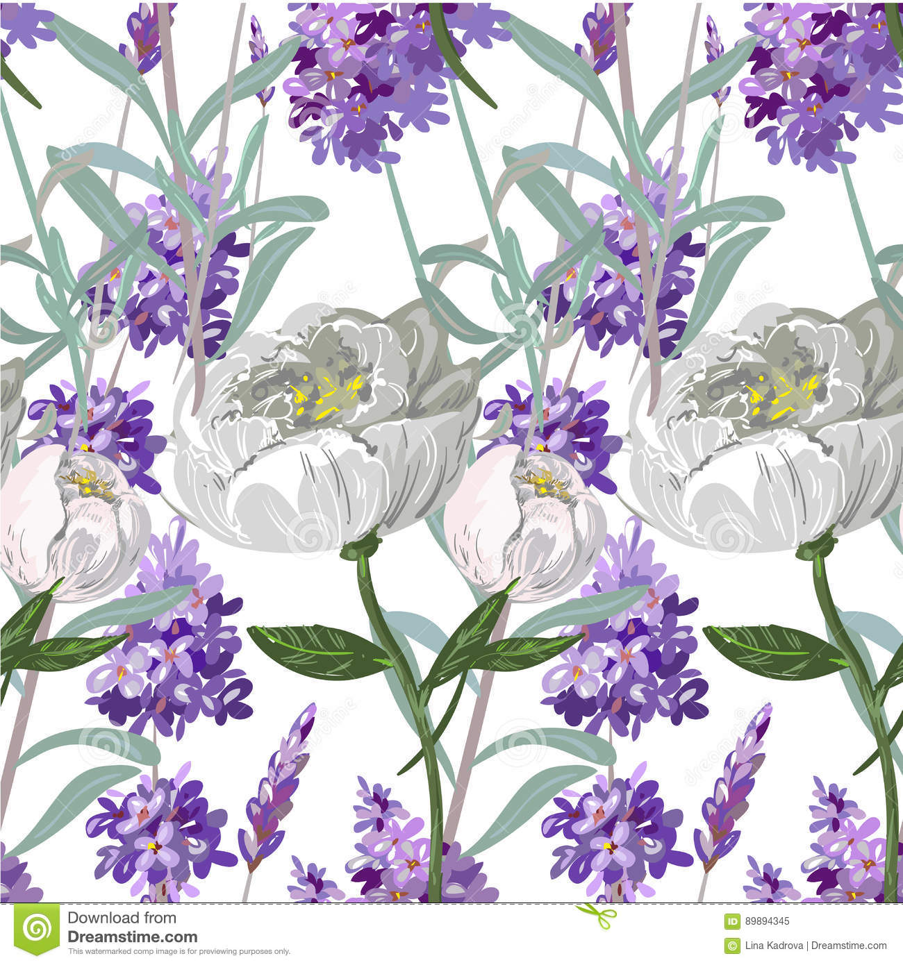 Lavender And Peony Seamless Pattern Stock Vector Illustration Of Hand Exotic 89894345