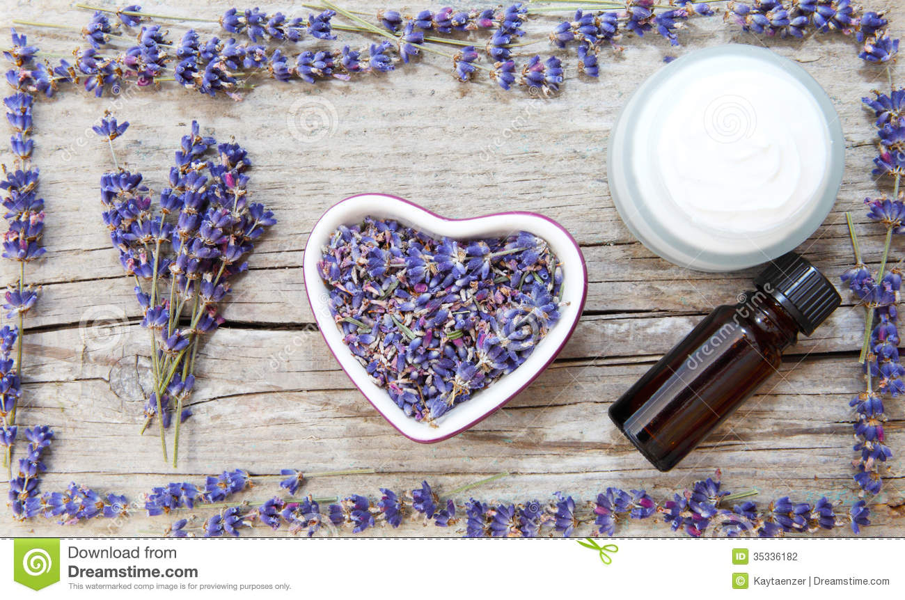 lavender products  natural cosmetics stock photography