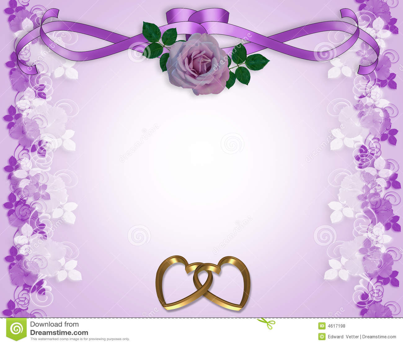 Lavender Rose Wedding Invitation Stock Illustration