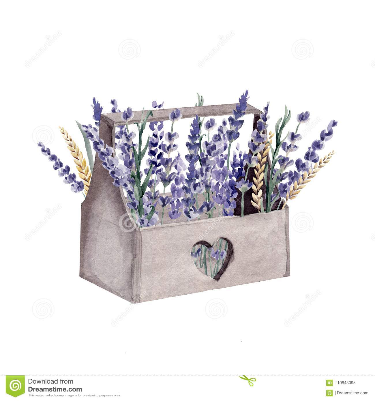 Lavender watercolor hand painted provence box cereal wheat