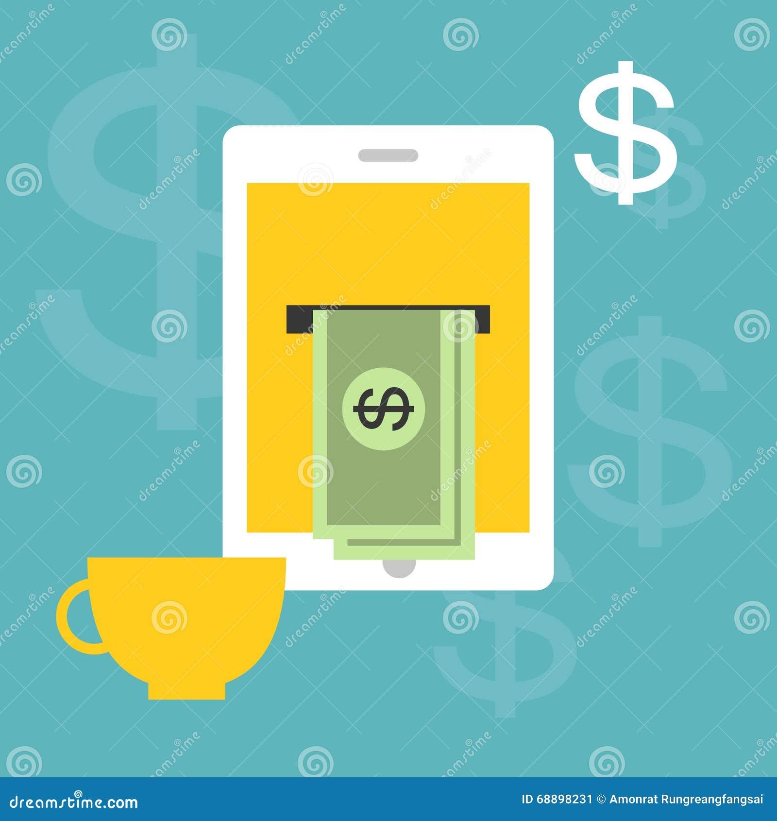 Lavorando e rendendo soldi online a casa illustrazione vettoriale illustrazione di - Soldi contanti a casa ...