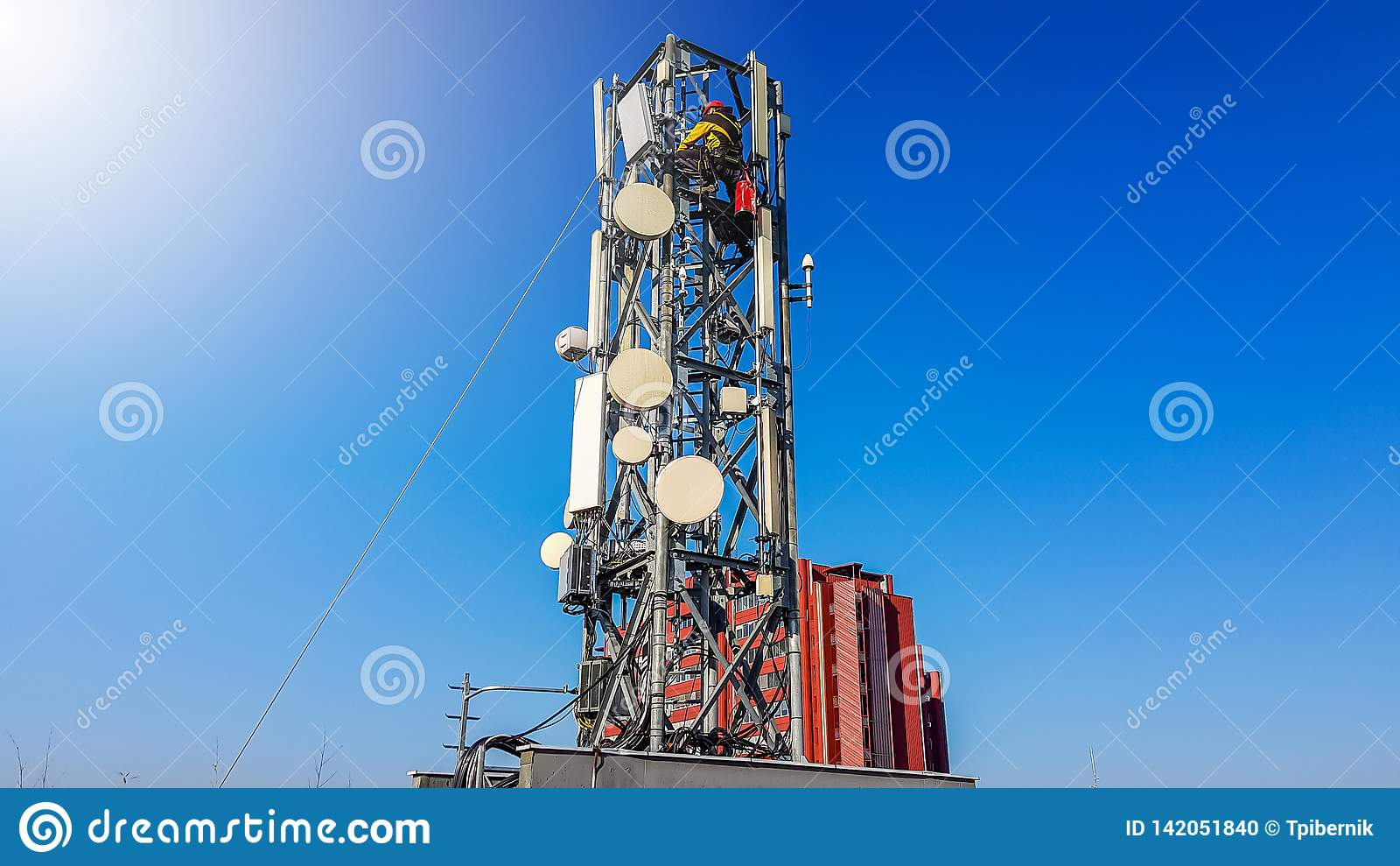 Lavoratore del tecnico che scala su un albero della rete radiofonica del telefono che installa nuova antenna