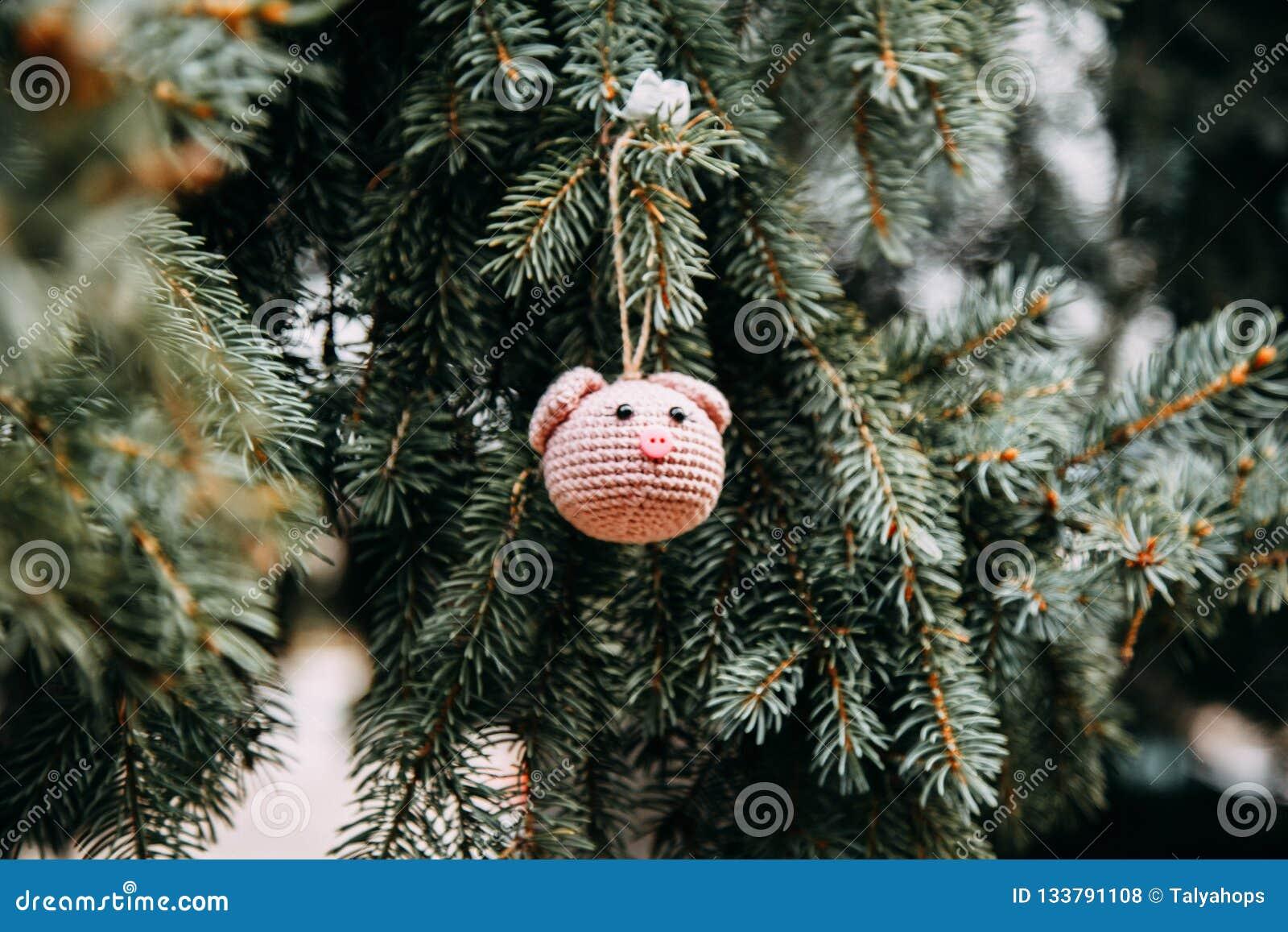 Lavori Alluncinetto La Testa Rosa Del Maiale Sullalbero Di Natale