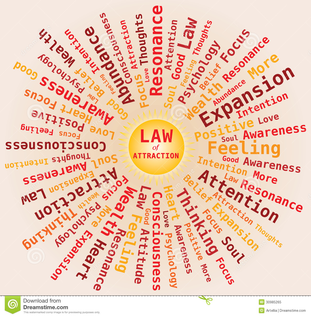 download law of attraction sun shape word cloud in orange colors stock vector illustration