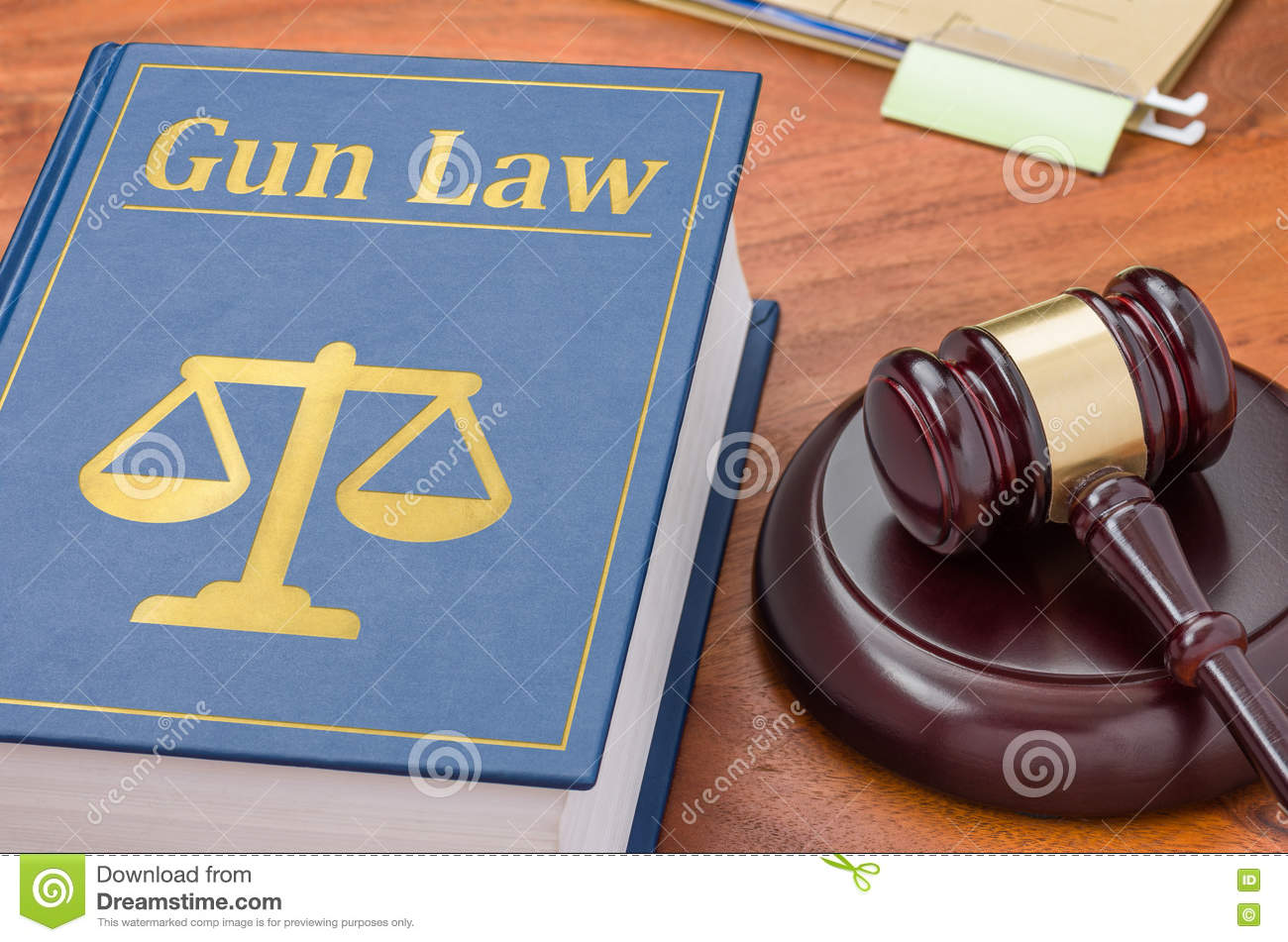 Law book with a gavel - Gun law